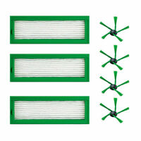 3 HEPA Efficient Filter + 4 Side Brush For Vorwerk Kobold VR200 Vacuum Cleaner
