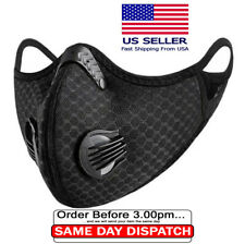 Mask With Activated Carbon Filter | Dual Valve | Pm2.5 | Cycling Mask | Black