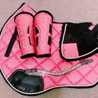 Pink Matchy Matchy Water proof Saddle Pad fly veil and tendon boot
