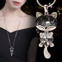 Silver Cat Rhinestone Necklace Women Pendant Long Sweater Chain Crystal Jewelry