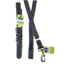 Dog Collar Large and Leash Set Faux Leather Adjustable Blue and Cream  Top Paw
