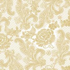 "edel 15 geprägte Servietten""Lace Royal pearl gold""Spitzen-Optik Blüten Ornamente"