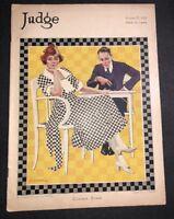 Aug  1921 Judge Magazine Monro Art Man Lady Playing Checkers Jazzy Art Cover