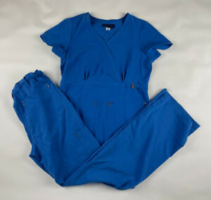 Koi Sapphire Scrub Set Womens XS Blue V-neck Top Cargo Pants Tall 267 715