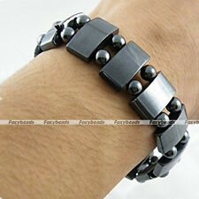 Adjustable Mens Hematite Magnetic Therapy Bracelets Rectangle Round Beads Gift