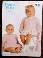 Peter Pan knitting pattern leaflet no. P543 Girls Cardigan & Dress  16- 22 ins.