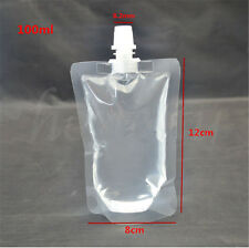 5-20PCS 100~500ML Clear Spout Bags Stand Up Bag Liquid Bag Flask Pouch With Cap