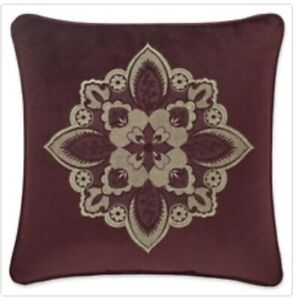 """J. QUEEN ROSEWOOD 18""""  EMBELLISHED DECORATIVE PILLOW IN BURGUNDY"""