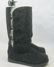 Black Rhinestone Winter Mid-Calf Boot Fur On Top/Inside Side Button Size 9