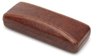 NEW Nice Clam Shell Hard Eyeglasses Glasses Case Brown w/ Cleaning Cloth