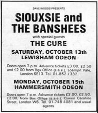 Siouxsie & The Banshees w/ The Cure '79 Melody Maker Concert Ad Reprint London