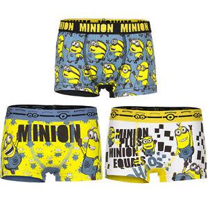 Underwear Boys Minions Yellow Blue White Boxer Shorts 92-98 104-110 116-122 #62