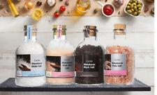 Cucina Natural Himalayan Salts Oversized Glass Jars With Cork Top - Pack of 4