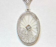 Art Deco Vintage Rhodium Camphor Glass Diamond Filigree Pendant Necklace 1920's