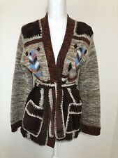 Vintage 70s Suede & Knit Brown Patchwork Belted Cardigan Small Aztec Print Boho
