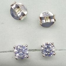 92.5% Sterling Silver Round Stud Earrings 4mm