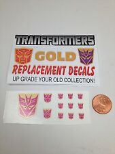 Transformer Toy Decals. Reproduction Gold Decals Die Cut