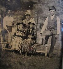 Antique tintype group photo Milkman & Wives Holding Jugs of Milk or Moonshine
