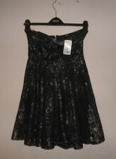 BNWT LADIES STYLISH BANDEAU PARTY DRESS BLACK/SILVER LACE SIZE 12 - FOREVER 21