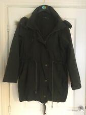 GLASSONS Dark Green Long Parka Fur Lined Hood Winter Coat Jacket Size 12