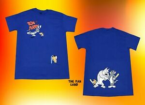 New Tom and Jerry Two Sided Hanna Barbera 1940 Blue Men's Vintage T-Shirt