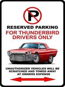 1964 Ford Thunderbird Classic Car-toon No Parking Sign NEW