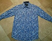 COOGI Long Sleeve French Cuff Button Shirt Paisley Cotton Poly Blend Blue S Men