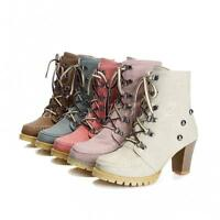 Ladies Womens rivet lace up high top high heels shoes casual Punk ankle boots