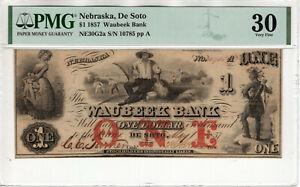1857 $1 WAUBEEK BANK DE SOTO NEBRASKA OBSOLETE NOTE PMG VERY FINE VF 30 (034)