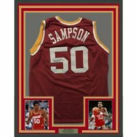 FRAMED Autographed/Signed RALPH SAMPSON 33x42 Houston Red Jersey Tristar COA