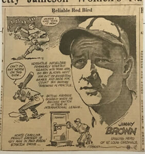"""1939 newspaper panel """"Reliable Red Bird"""" - Jimmy Brown St. Louis Cardinals"""