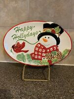 Fitz and Floyd Holly Berry Snowman Hollydays Oval  Platter Cardinal Pinecones