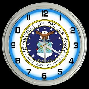 """16"""" United States Air Force Sign Blue Neon Clock"""