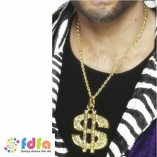 GOLD PIMP DOLLAR SIGN MEDALLION ON CHAIN ladies mens fancy dress accessory