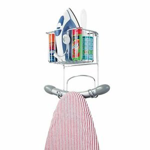 mDesign Metal Wall Mount Ironing Board Holder with Small Storage Basket - Chrome