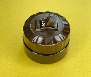 Vintage Circle F Round Light Switch, Bakelite & Porcelain Toggle ON/OFF #2754