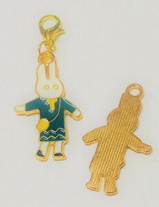 Charm Hase gold weiß grün Ostern Bettelarmband Anhänger Bunny mit Tasche SaWi