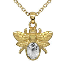 24K GOLDEN BEE NECKLACE WITH WHITE SWAROVSKI CRYSTAL BY CONTROSE