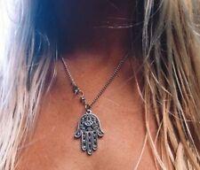 Hamsa Hand Necklace of Fatima Spiritual Yoga Buddha Evil Eye Pendant UK Seller