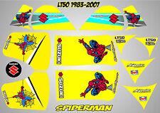 suzuki lt50 quad graphics stickers decals lt 50 laminated spiderman yellow