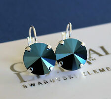 14mm Metallic Blue Rivoli Lever back Earrings with Swarovski Crystal Elements