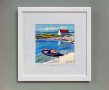 FRASER MILNE 'BEACHED BOAT AND COTTAGE, ISLE OF BARRA' FRAMED SIGNED PRINT
