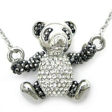 Lovely 3D Swing Panda Twinkling Use Austria Crystal Necklace