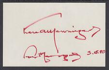 "Dr. Karl Menniger, Psychiatrist & Author, signed 3"" x 4½"" card"