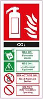 CO2 FIRE EXTINGUISHER WORKPLACE HAZARD HEALTH & SAFETY SIGNS COSHH 300mm x 150mm