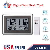 Digital LCD Display Atomic Wall Desk Clock Indoor Outdoor Temperature Meter Home