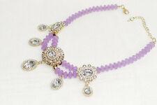 Fashion Jewelry Necklace Choker Chunky Statement Set Collars Purple Stone Beads