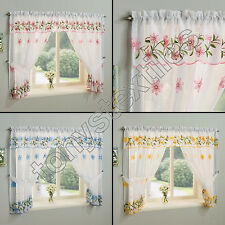 DAISY FLORAL LACE NET CURTAIN SLOT TOP WINDOW SET PANEL 4 SIZES BLUE PINK YELLOW