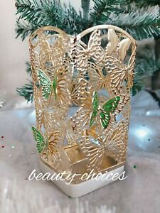 BATH & BODY WORKS BUTTERFLY GOLD SOAP METAL HOLDER SLEEVE 8.75 OZ NEW