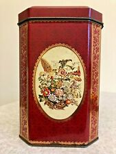 Vintage Storage Tin - Red & Gold With Floral Pictures -  Empty